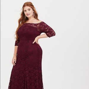 Torrid Special Occasion Burgundy Lace Dress